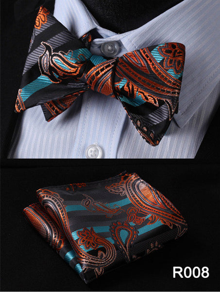 Bowtie And Pocket Square 100% Silk Paisley Floral Set