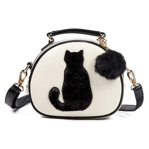 Cat Print Fashion Ball Round Shoulder Crossbody Handbag