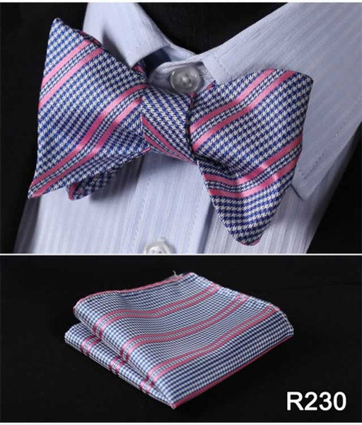 Bowtie And Pocket Square 100% Silk Striped Set