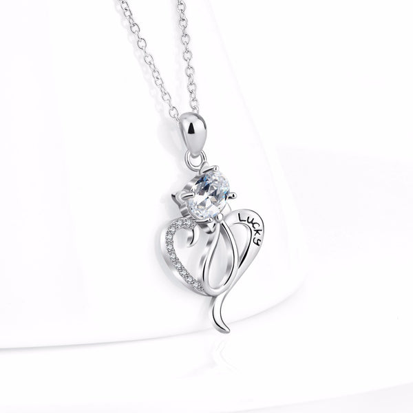 925 Sterling Silver CZ Crystal Lucky Heart Cat Pendant Necklace