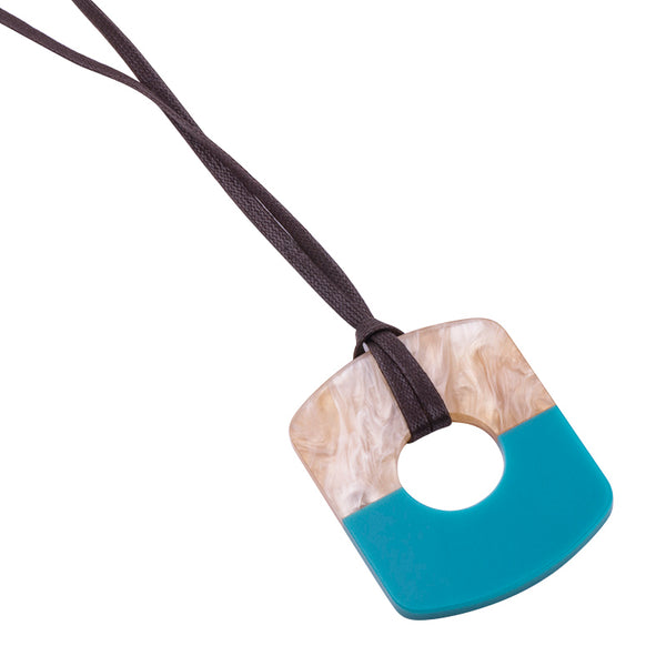 Resin Pendant Necklace With Adjustable Leather Rope
