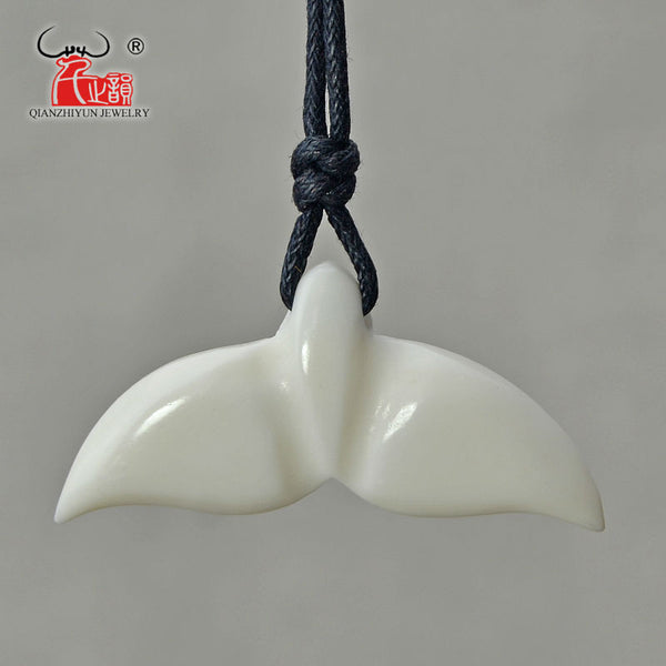 Whale Tail Hawaiian Hand Carved Bone Pendent Necklace