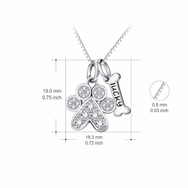 925 Sterling Silver CZ Puppy Paw Bone Pendant Necklace