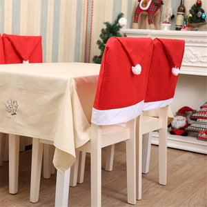 2pc Christmas Santa Red Hat Chair Covers