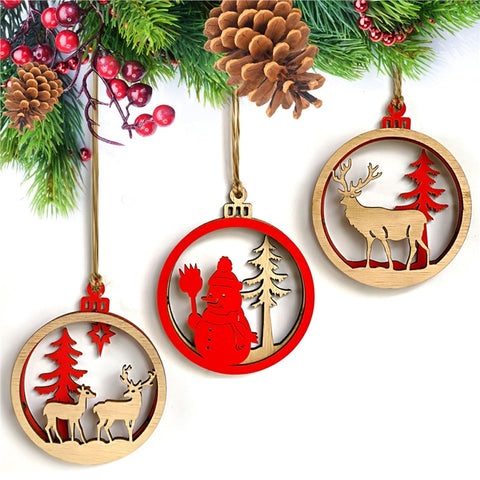 3pc 3D Christmas Snowman Reindeer Wooden Pendant Hanging Ornaments
