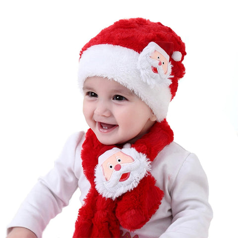2pc Baby Christmas Santa Plush Hat And Scarf
