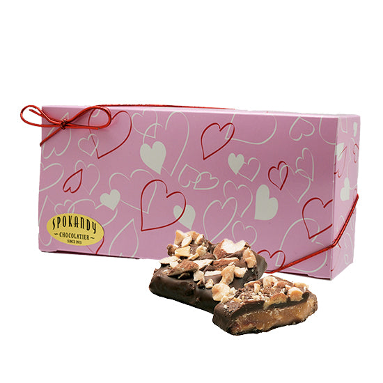 English Almond Toffee, Dark Choc. Pink gift box with hearts 12 oz
