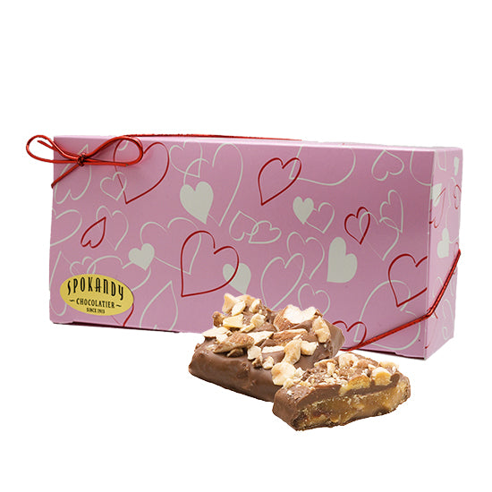 English Almond Toffee, Milk Choc. Pink gift box with hearts, 12 oz