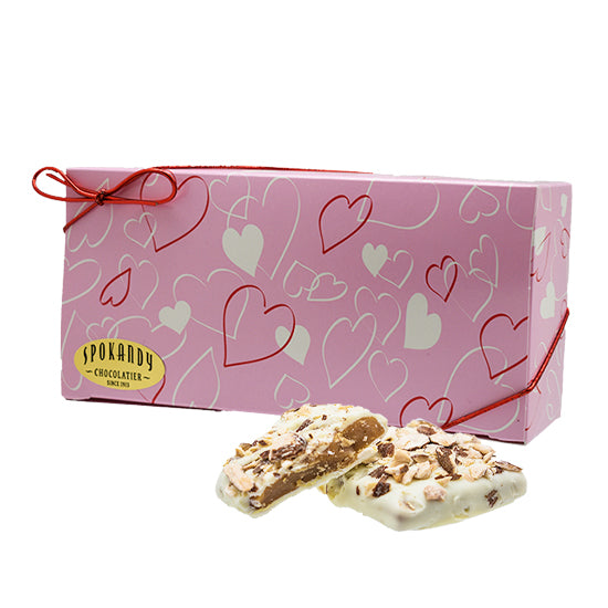 English Almond Toffee, White Choc. Pink gift box with hearts, 12 oz