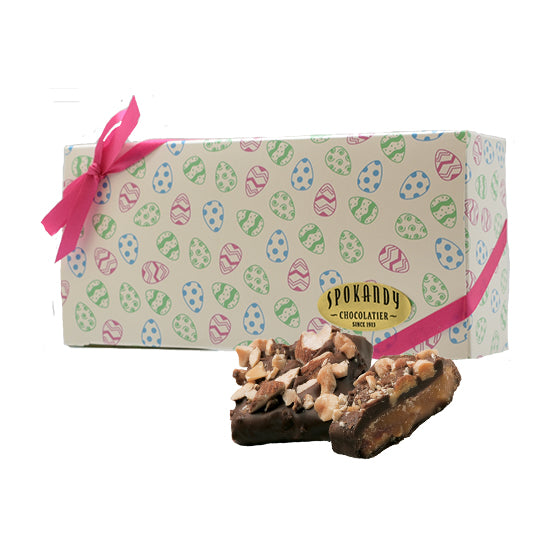 English Almond Toffee, Dark Choc. White gift box with eggs 12 oz