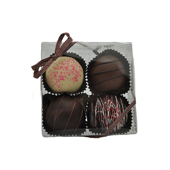 4 pc Truffle Assortment in Clear Gift Box