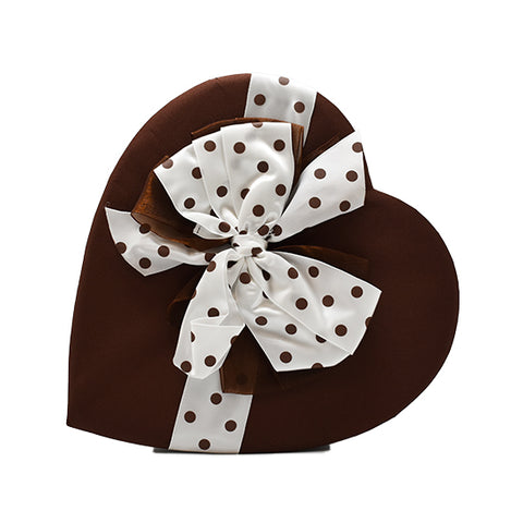 15 oz - Premium chocolates in brown heart with white & brown polka dot bow