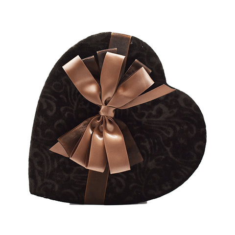 15 oz - Premium chocolates in brown heart with light brown satin bow