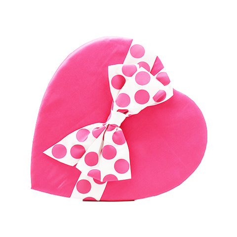 15 oz - Premium chocolates in pink heart with polka dot bow