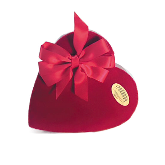 15 oz - Premium Chocolates in a red velvet heart with bow