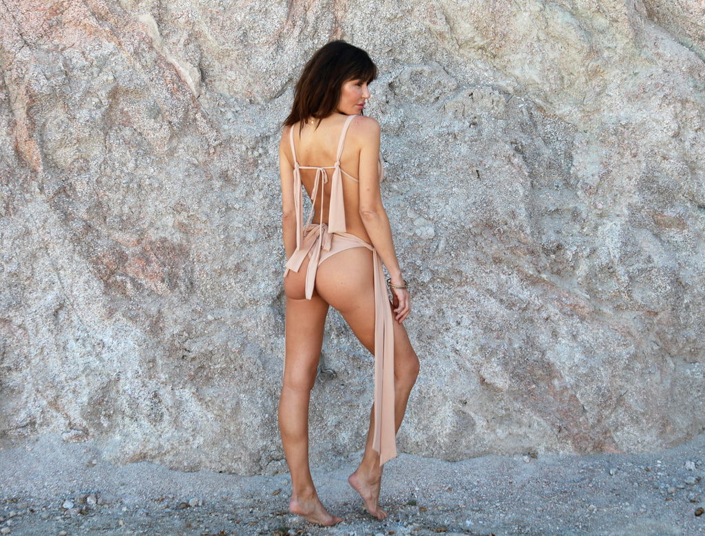 SWIM SALE Aphrodite Tie Side Bottom in Nude Beach - Abruzzo Swim