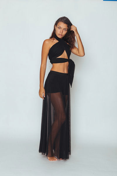 Peekaboo Halter Skirt Set - Abruzzo Swim
