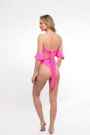 SWIM SALE Sideout! Bottoms/ Highlighter Pink - Abruzzo Swim