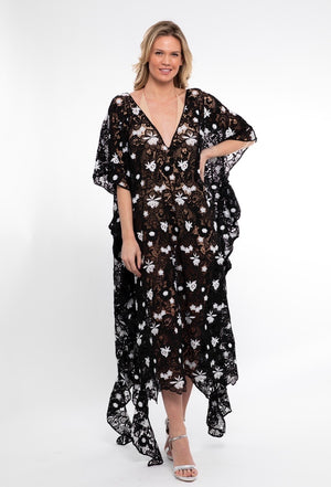 Crochet Embroidered Ruffle caftan - Abruzzo Swim