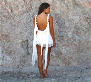 Mykonos Mini Dress with Detachable train - Abruzzo Swim
