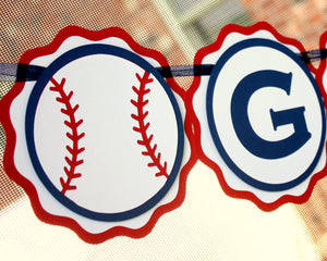 Baseball Party Name Banner