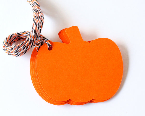 Blank Pumpkin Gift Tags - Halloween Favor Tags