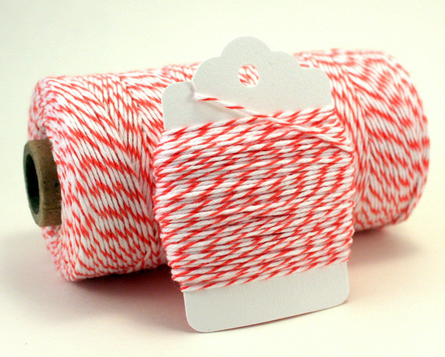 Coral and White Baker's Twine