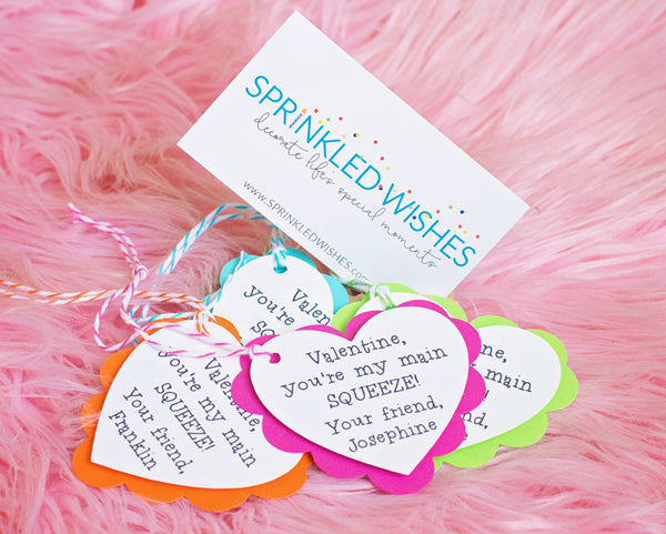 You're My Main Squeeze - Preschool Valentine Tags