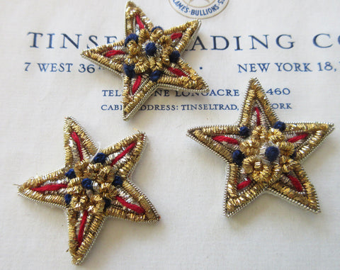 Gold/Blue/Red Bullion Star 3 Pcs