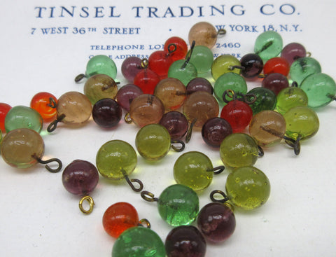 "Round Glass Beads With Loops  Multiple Colors  3/16"" 12 Pcs SALE"