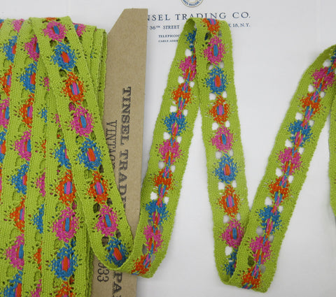 Lime Green Multi Color Lace Trim 2 Yards