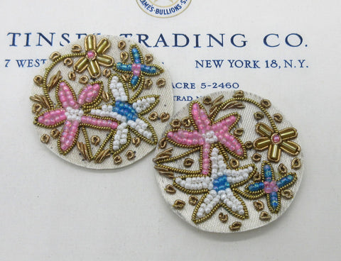 Gold Bullion Round Blue/Pink Applique Pair - SALE