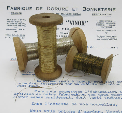 Antique French Tinsel Metallic Thread -3 Spools Assorted