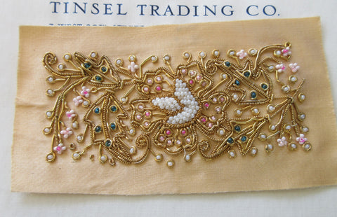 Rectangle Peach Bullion Applique - SALE