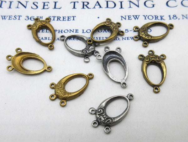 Gold and Silver Oval w/Loops Stampings 6 Pcs
