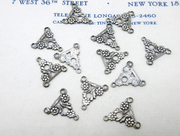 Gold and Silver Floral Triangle Stampings 12 Pcs