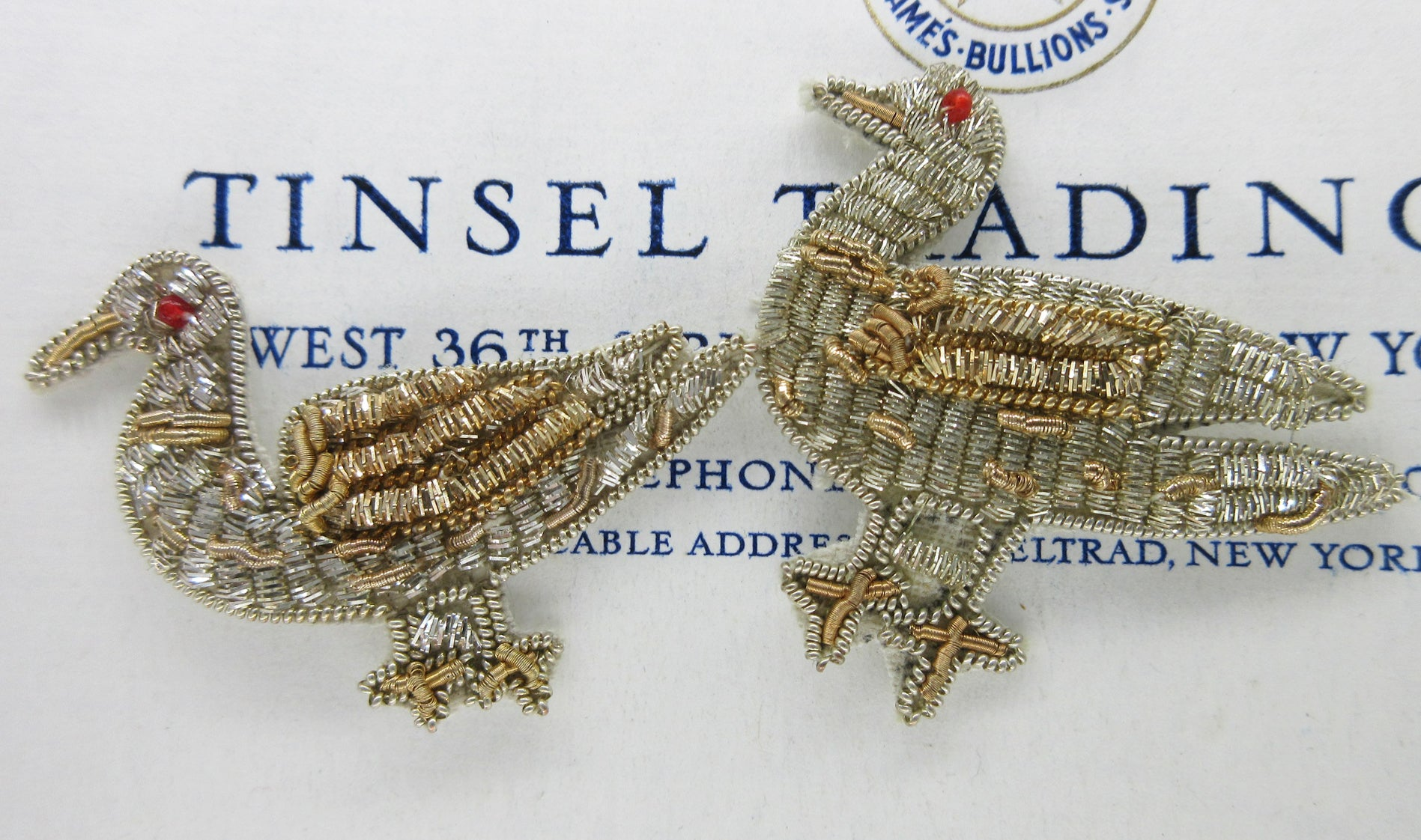 Pair Bullion Bird Appliques - SALE