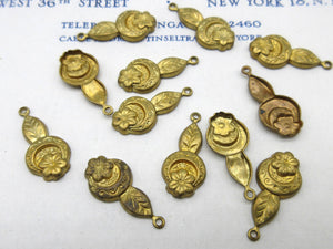 2 Shades of Gold Floral Stampings 12 Pcs