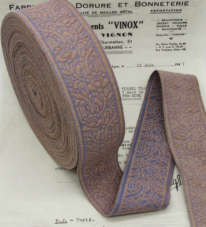 Lavender/Pinkish Metallic Galloon Trim