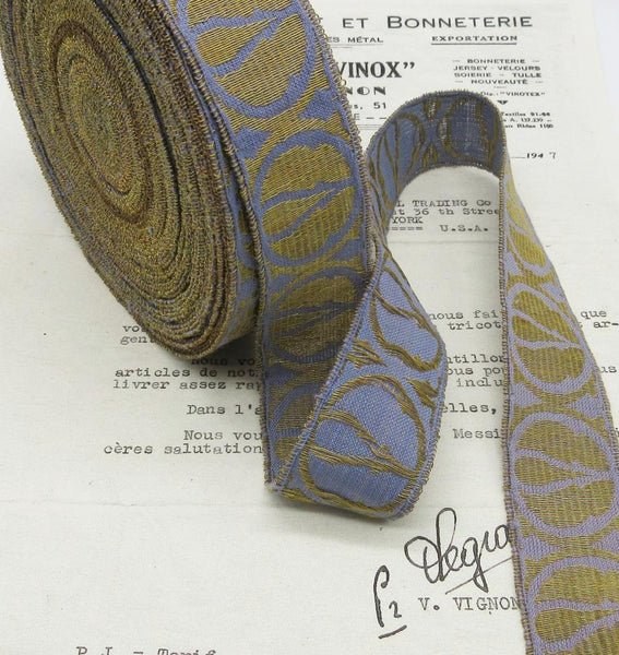 Gold/Periwinkle Metallic Galloon Trim 1 3/16""