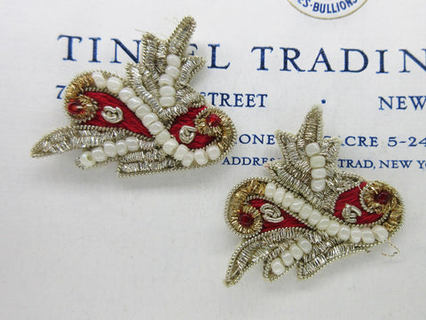 Red and Silver Bullion with Pearls Applique - SALE
