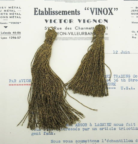 "Dark Gold Metallic Twist Tassels - 3"" and 4"""