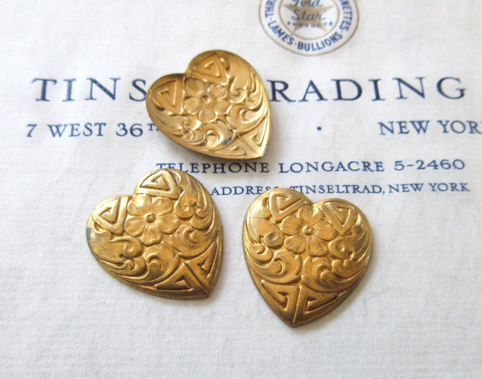 Gold Floral Heart Stamping 3 Pcs