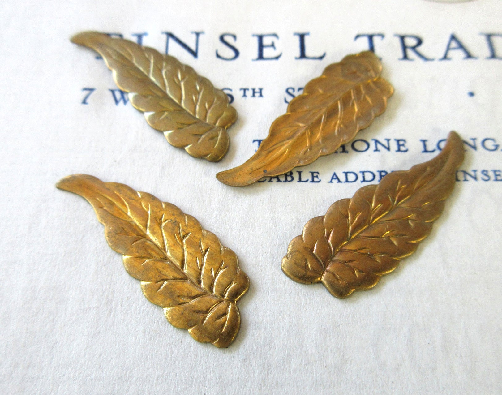 Gold Leaf Stampings 4 Pcs