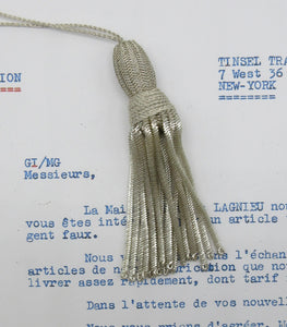 Small Silver Bullion Tassel W/Woven Top