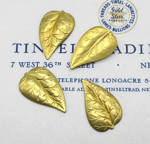Gold Leaves W/Veins Stampings 4 Pcs