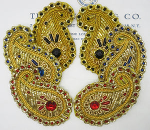 Gold W/Beads Bullion Paisley Appliques SALE