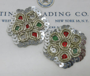 Silver Bullion ,Sequin Applique Pair