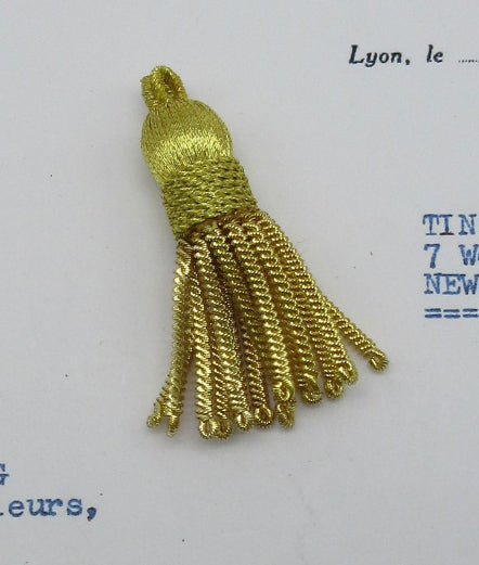 Tiny Fancy Metallic Gold Bullion Tassel 1 3/4""