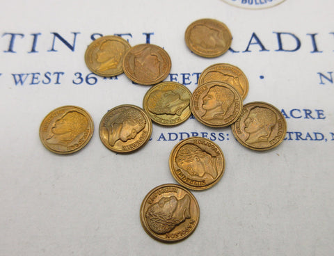 Tiny Gold Napoleon Coin Stampings 12 Pcs